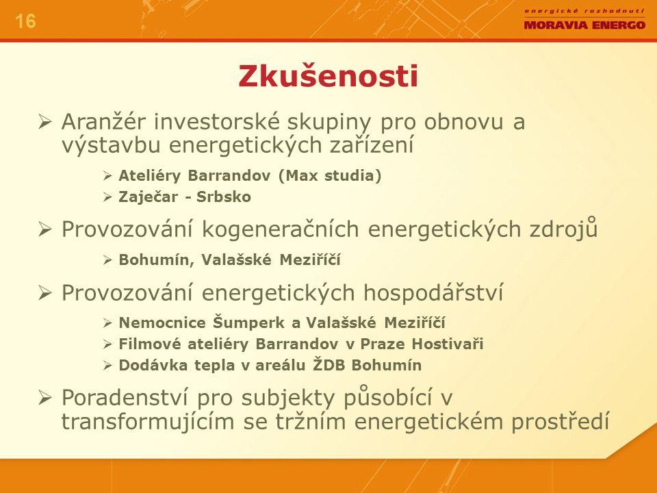 17 Možnosti. Další rozšíření obchodu s elektrickou energií a teplem v tržním prostředí. Výkup veškeré vyrobené elektřiny IPP.