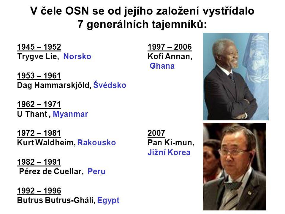 V čele OSN se od jejího založení vystřídalo 7 generálních tajemníků:
