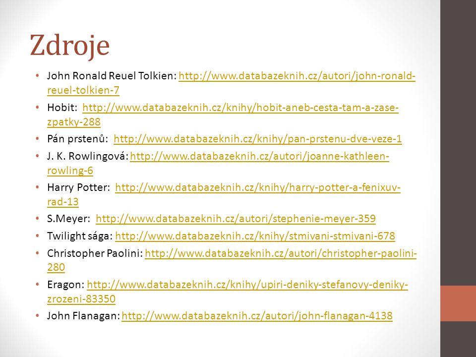 Zdroje John Ronald Reuel Tolkien: http://www.databazeknih.cz/autori/john-ronald-reuel-tolkien-7.