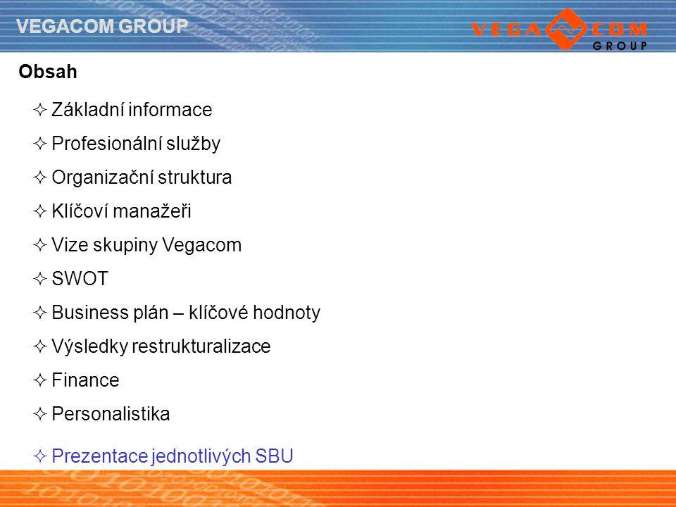 Obsah Základní informace. Profesionální služby. Organizační struktura. Klíčoví manažeři. Vize skupiny Vegacom.