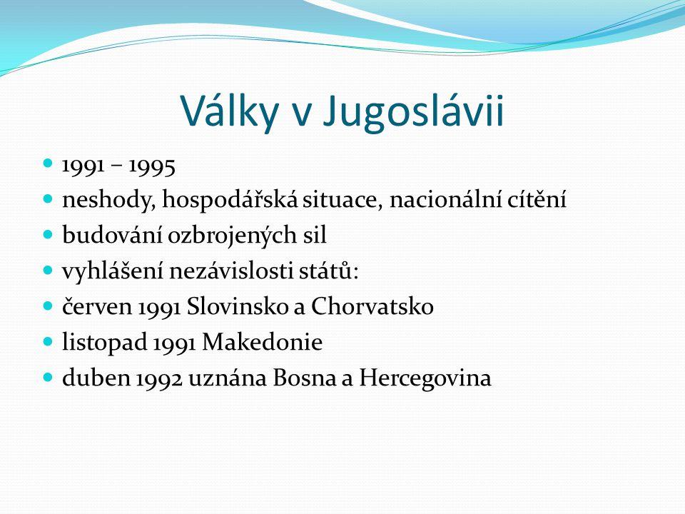 Války v Jugoslávii 1991 – 1995. neshody, hospodářská situace, nacionální cítění. budování ozbrojených sil.