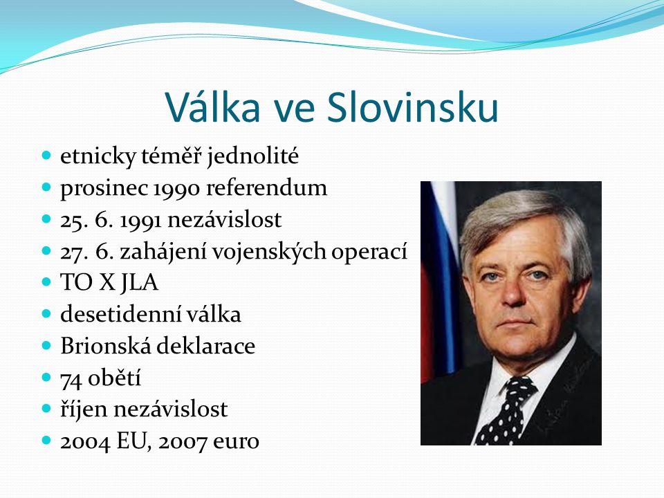 Válka ve Slovinsku etnicky téměř jednolité prosinec 1990 referendum