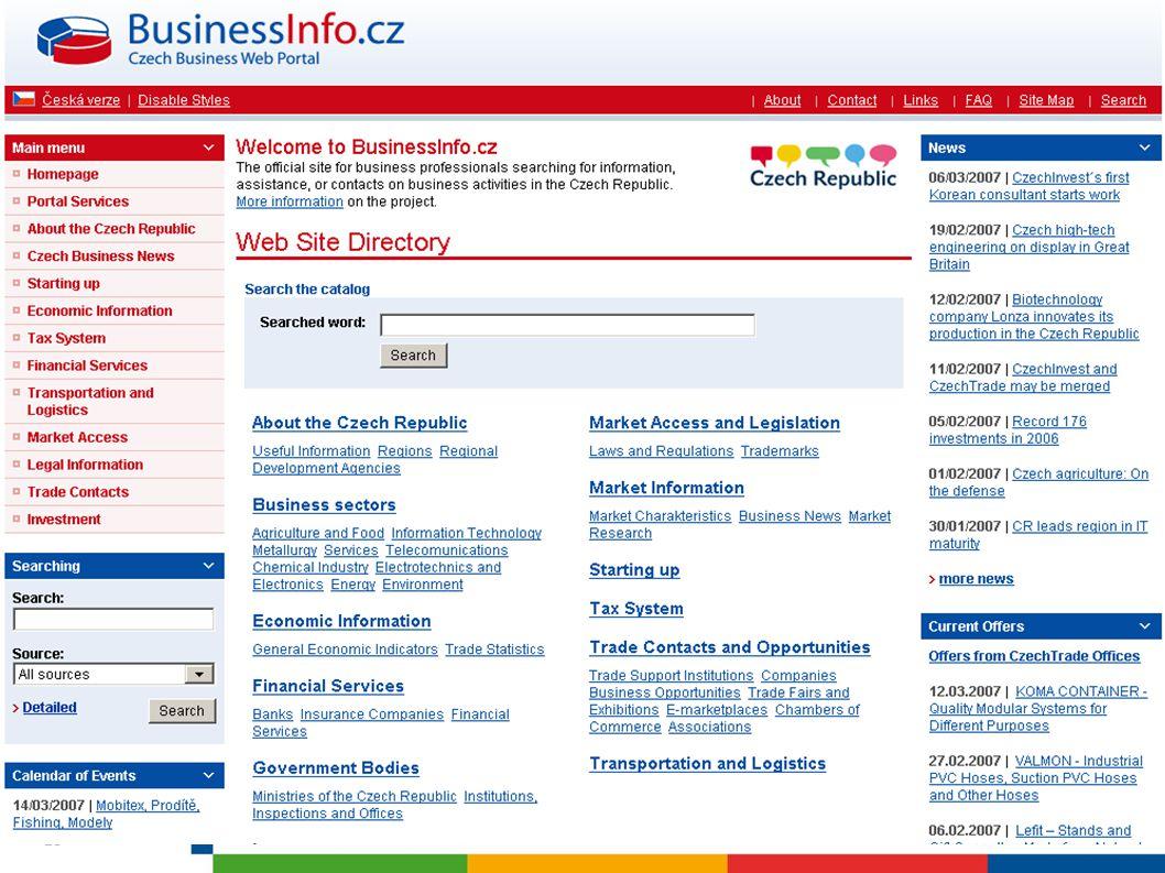 www.businessinfo.cz/en BusinessInfo má možné využití i pro Vaše zahraniční partnery!