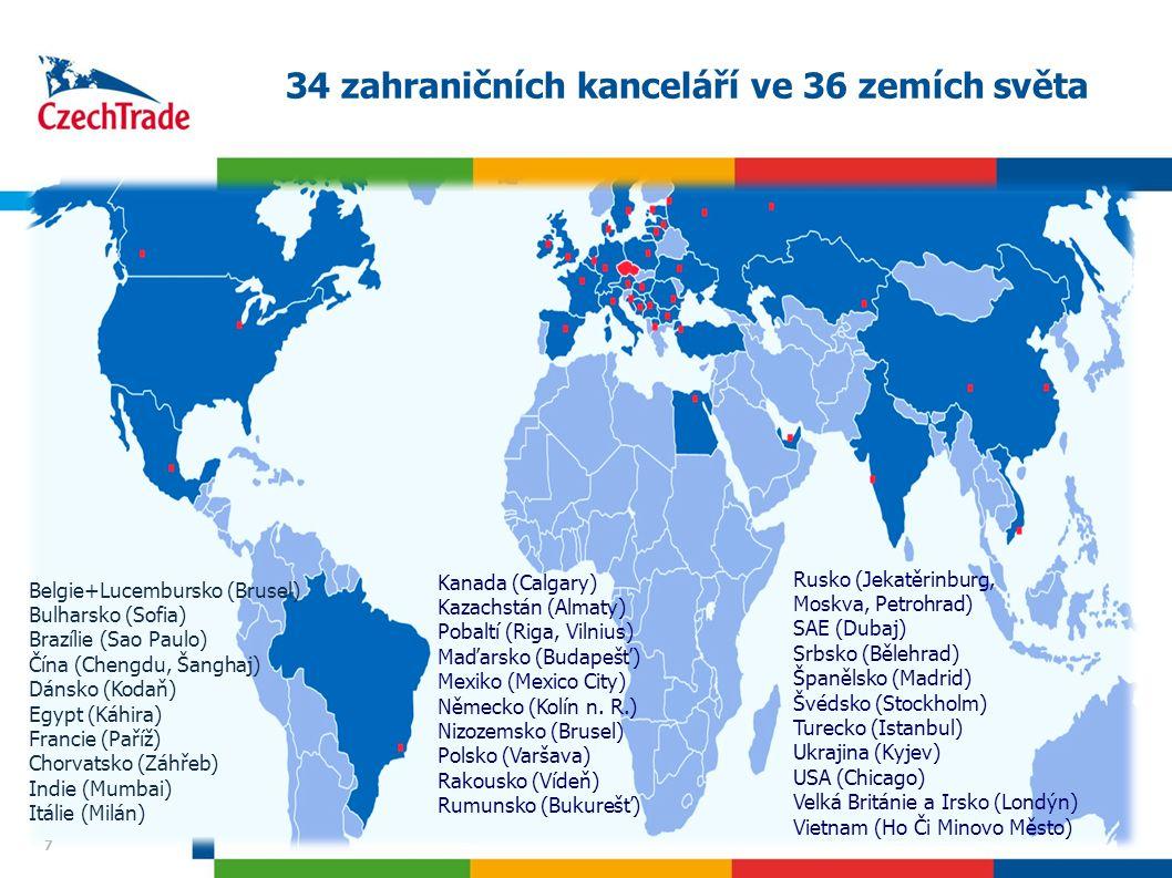 34 zahraničních kanceláří ve 36 zemích světa