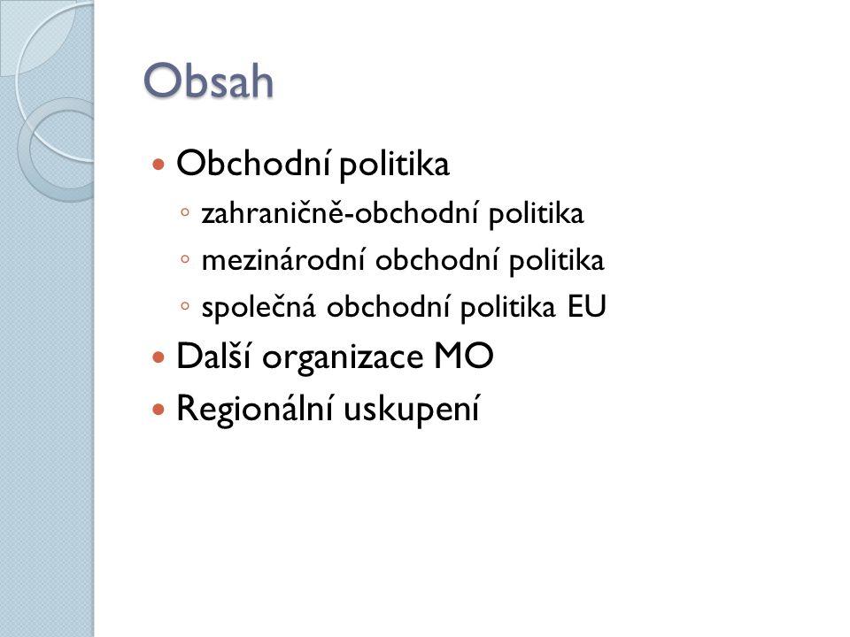 Obsah Obchodní politika Další organizace MO Regionální uskupení