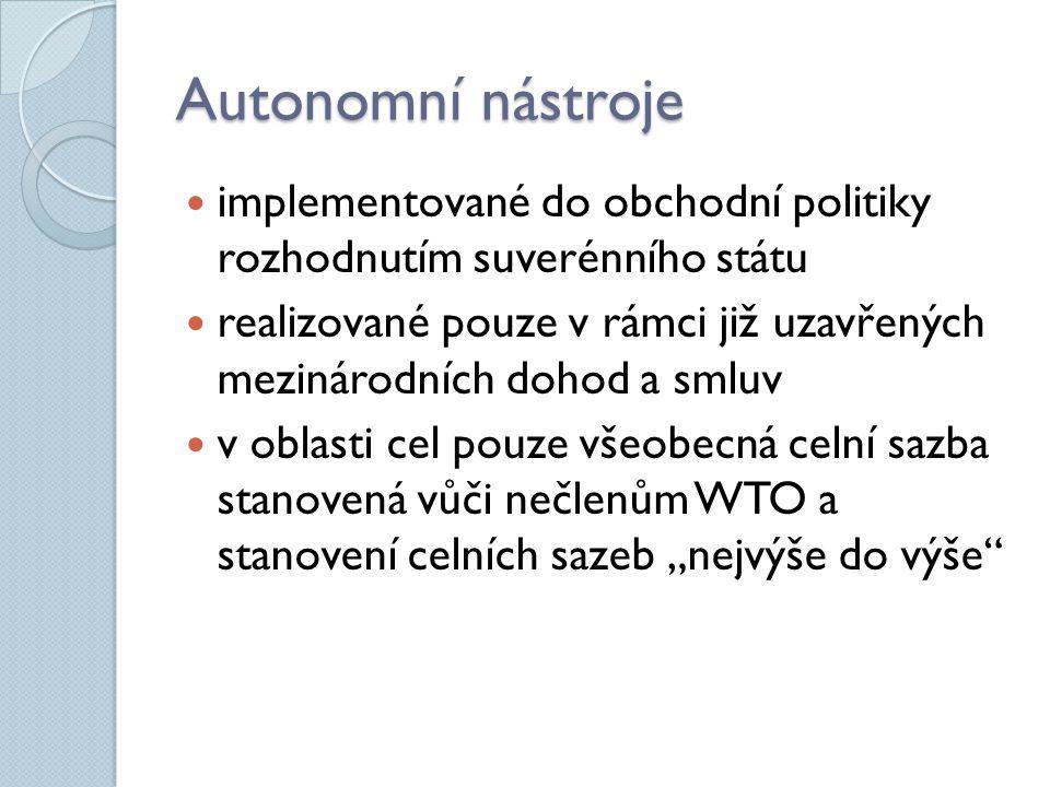 Autonomní nástroje implementované do obchodní politiky rozhodnutím suverénního státu.