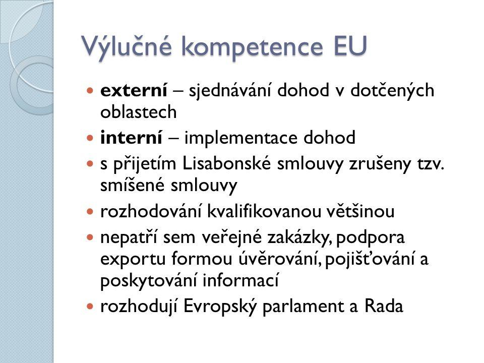 Výlučné kompetence EU externí – sjednávání dohod v dotčených oblastech