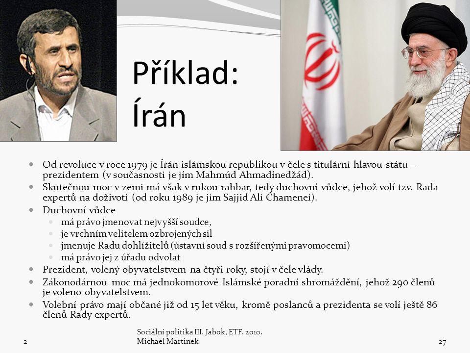 Příklad: Írán