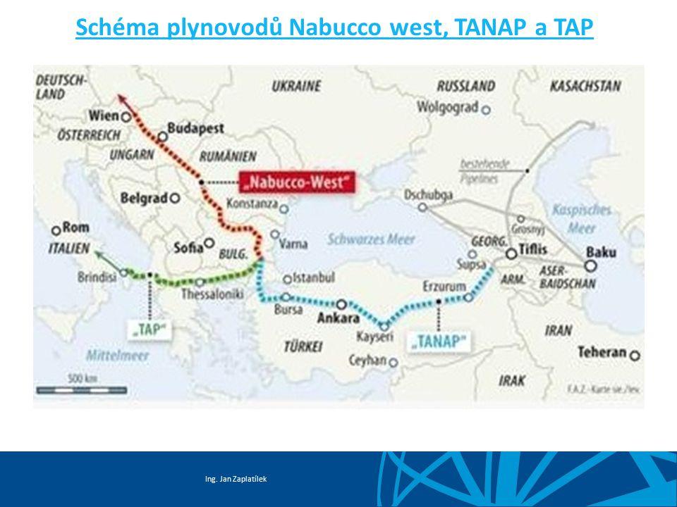 Schéma plynovodů Nabucco west, TANAP a TAP