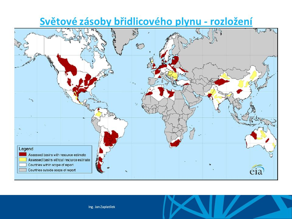 Světové zásoby břidlicového plynu - rozložení