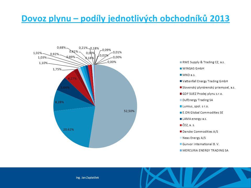 Dovoz plynu – podíly jednotlivých obchodníků 2013