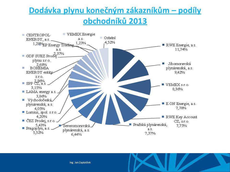 Dodávka plynu konečným zákazníkům – podíly obchodníků 2013