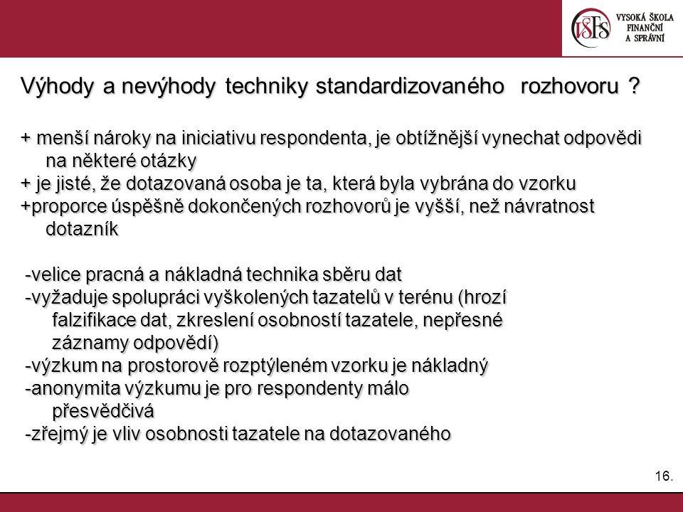 Výhody a nevýhody techniky standardizovaného rozhovoru