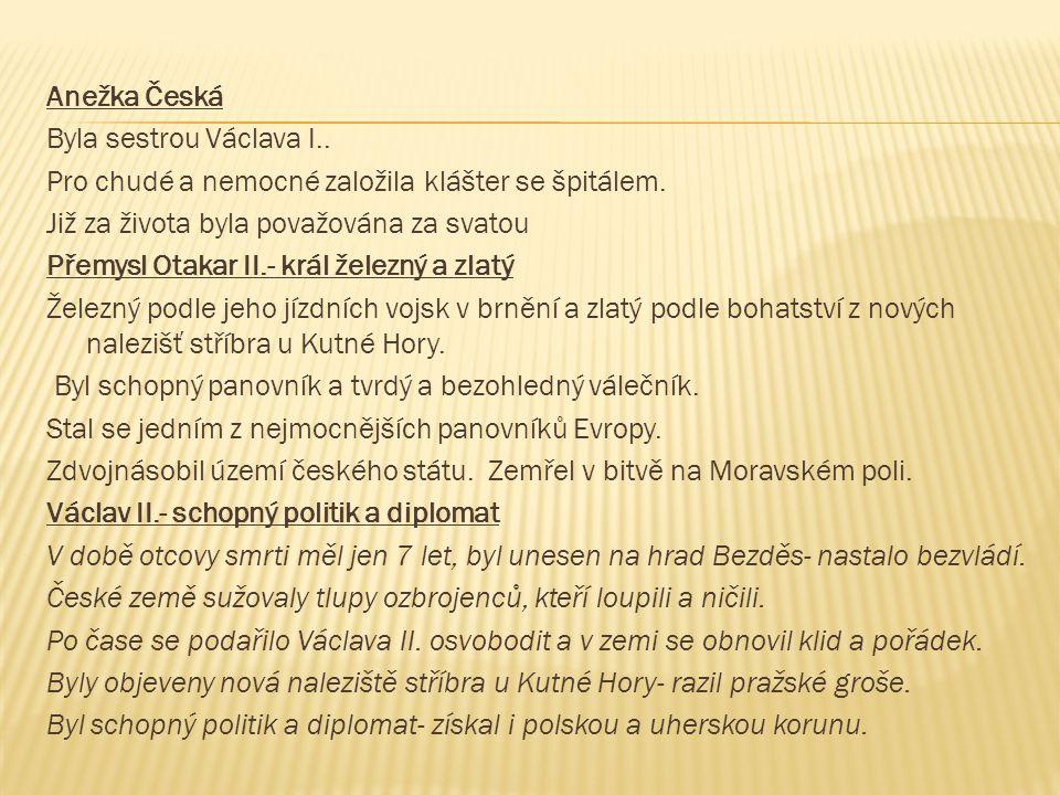Anežka Česká Byla sestrou Václava I