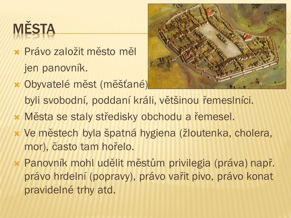 města Právo založit město měl jen panovník. Obyvatelé měst (měšťané)