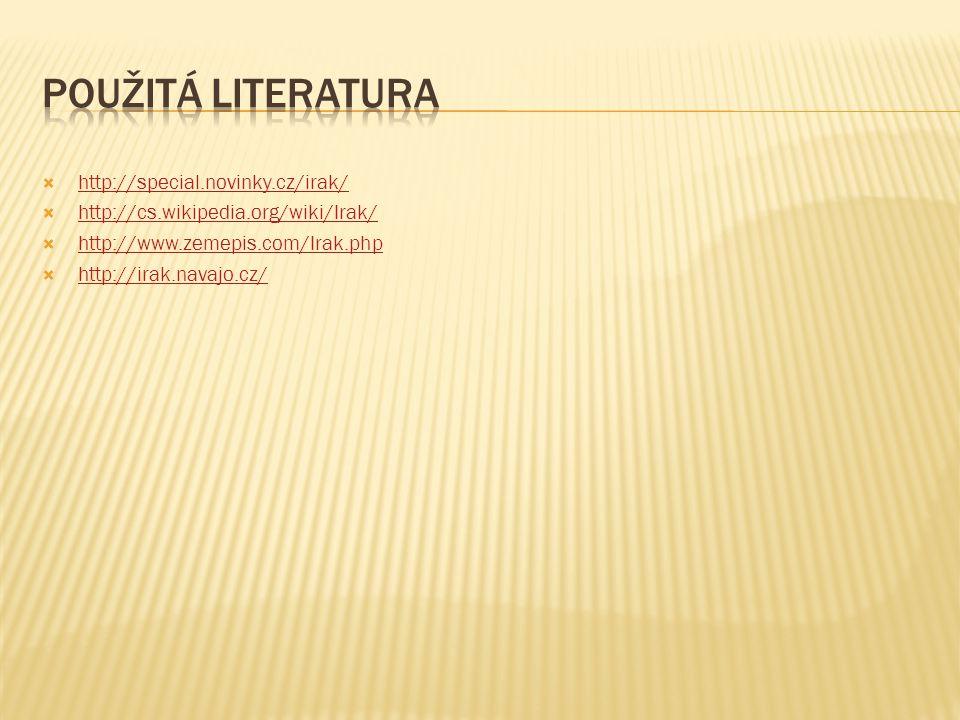 Použitá literatura http://special.novinky.cz/irak/