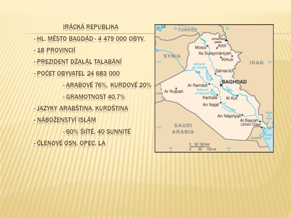 IRÁCKÁ REPUBLIKA - hl. město Bagdád - 4 479 000 obyv