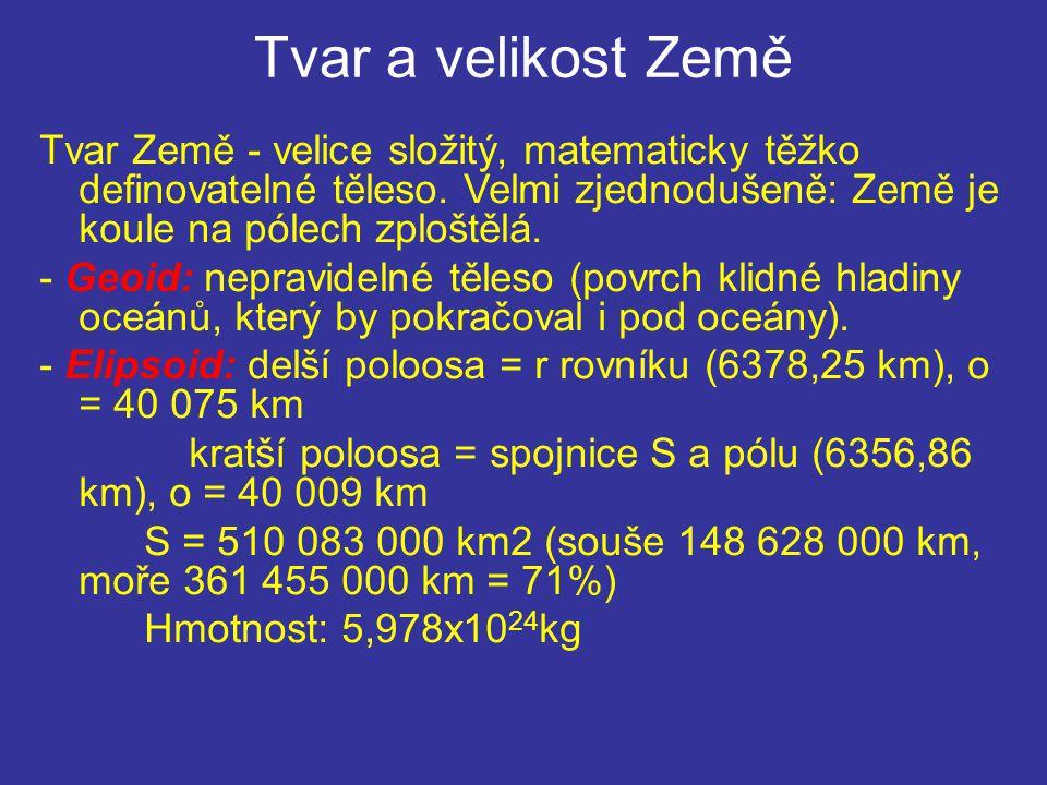 Tvar a velikost Země Tvar Země - velice složitý, matematicky těžko definovatelné těleso. Velmi zjednodušeně: Země je koule na pólech zploštělá.