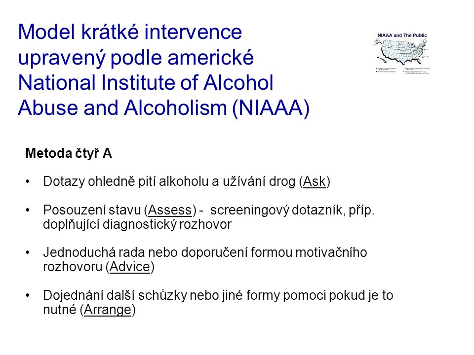 Model krátké intervence upravený podle americké National Institute of Alcohol Abuse and Alcoholism (NIAAA)