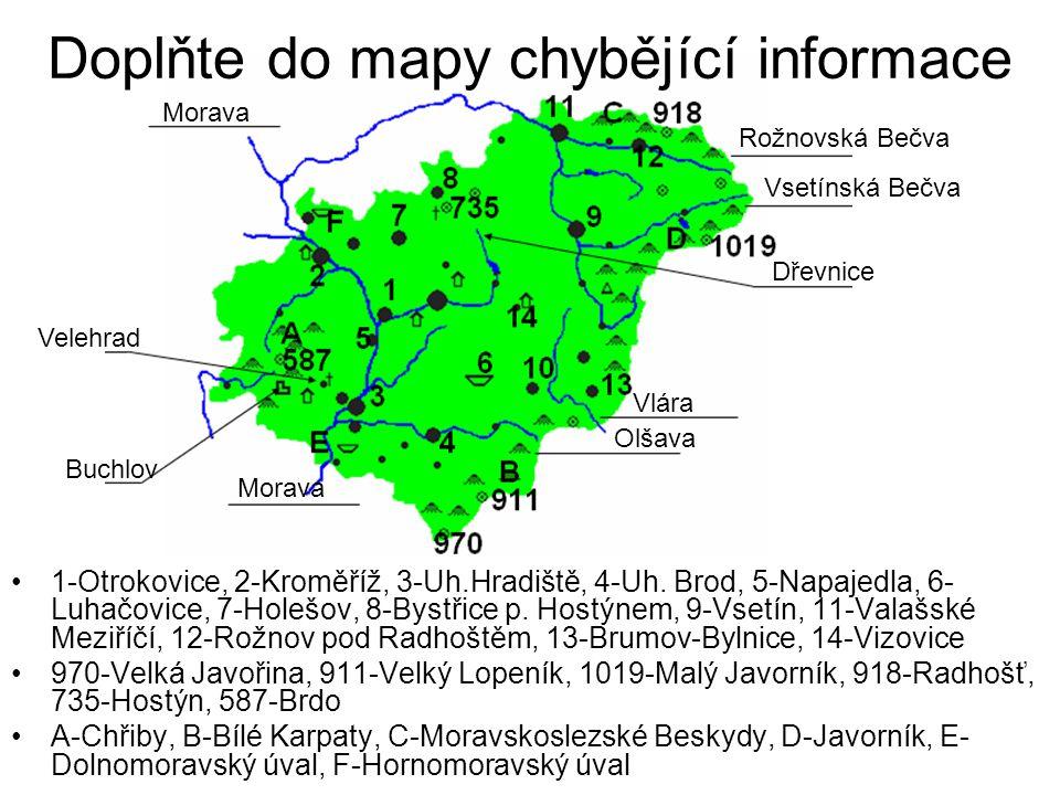 Doplňte do mapy chybějící informace
