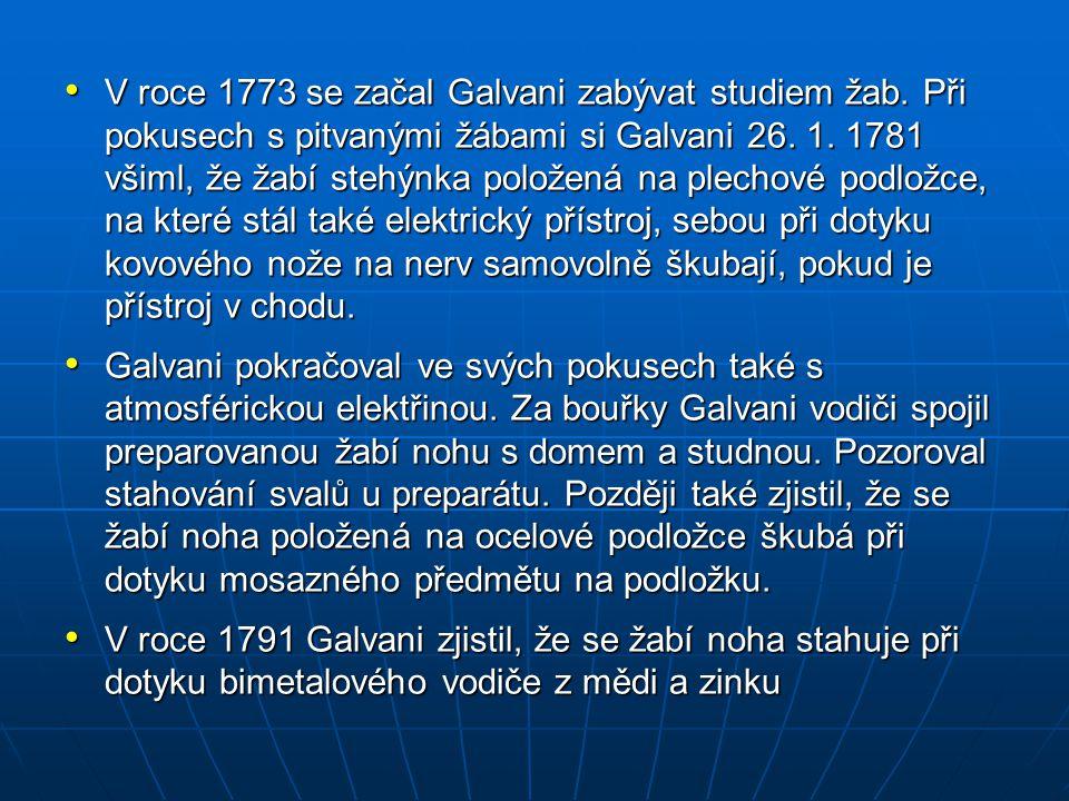 V roce 1773 se začal Galvani zabývat studiem žab