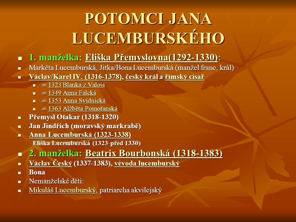 POTOMCI JANA LUCEMBURSKÉHO