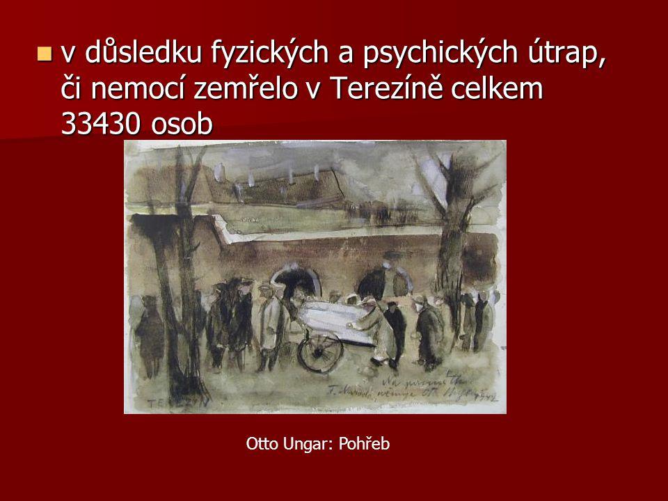 v důsledku fyzických a psychických útrap, či nemocí zemřelo v Terezíně celkem 33430 osob