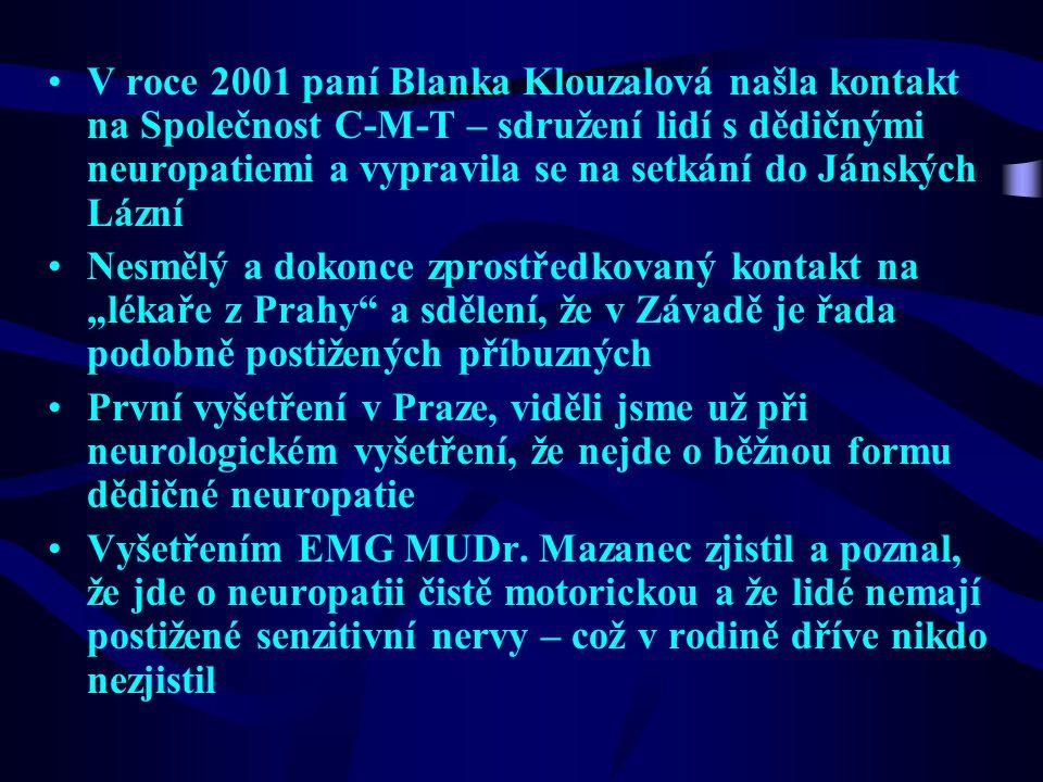 V roce 2001 paní Blanka Klouzalová našla kontakt na Společnost C-M-T – sdružení lidí s dědičnými neuropatiemi a vypravila se na setkání do Jánských Lázní