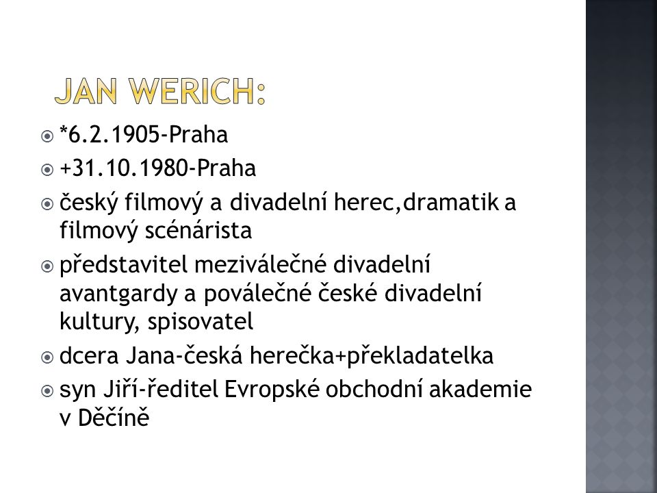 JAn Werich: *6.2.1905-Praha +31.10.1980-Praha
