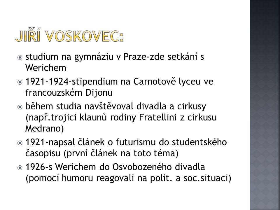 Jiří Voskovec: studium na gymnáziu v Praze-zde setkání s Werichem