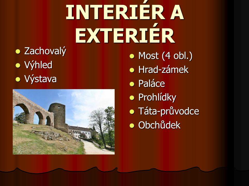 INTERIÉR A EXTERIÉR Zachovalý Most (4 obl.) Výhled Hrad-zámek Výstava