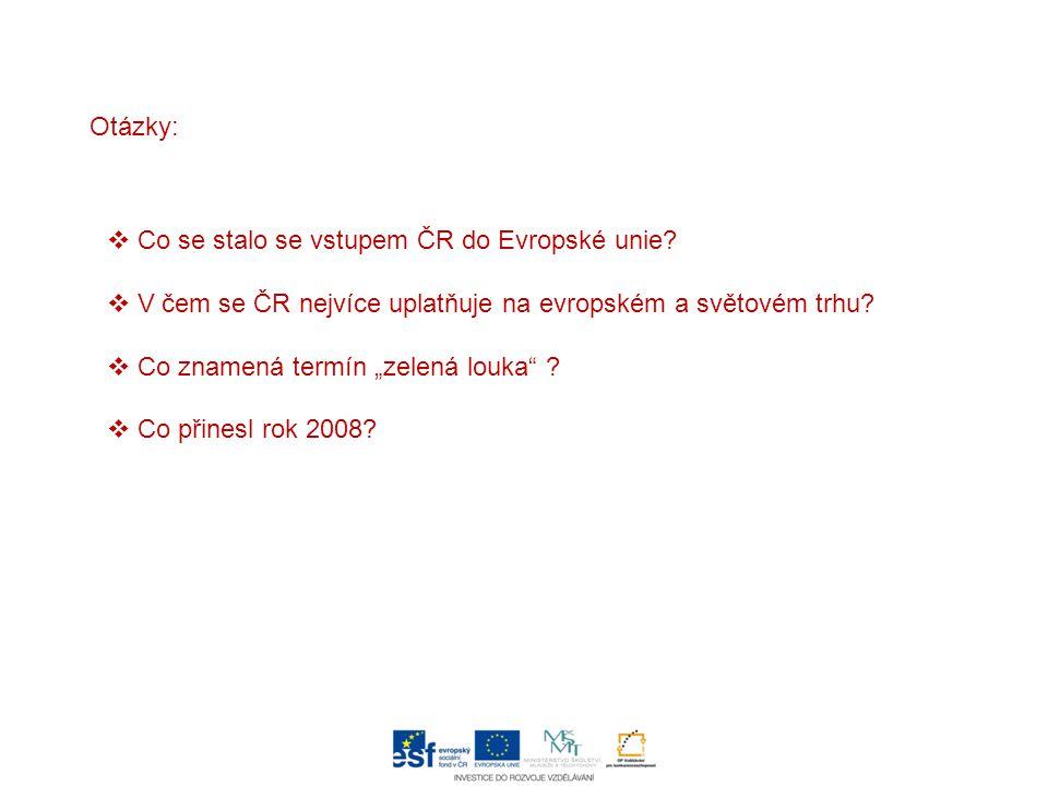 Otázky: Co se stalo se vstupem ČR do Evropské unie V čem se ČR nejvíce uplatňuje na evropském a světovém trhu