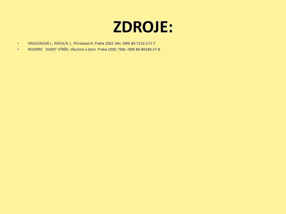 ZDROJE: KROULÍKOVÁ J., KROULÍK J., Přírodopis 9. Praha 2002. 56s. ISBN 80-7216-171-7.