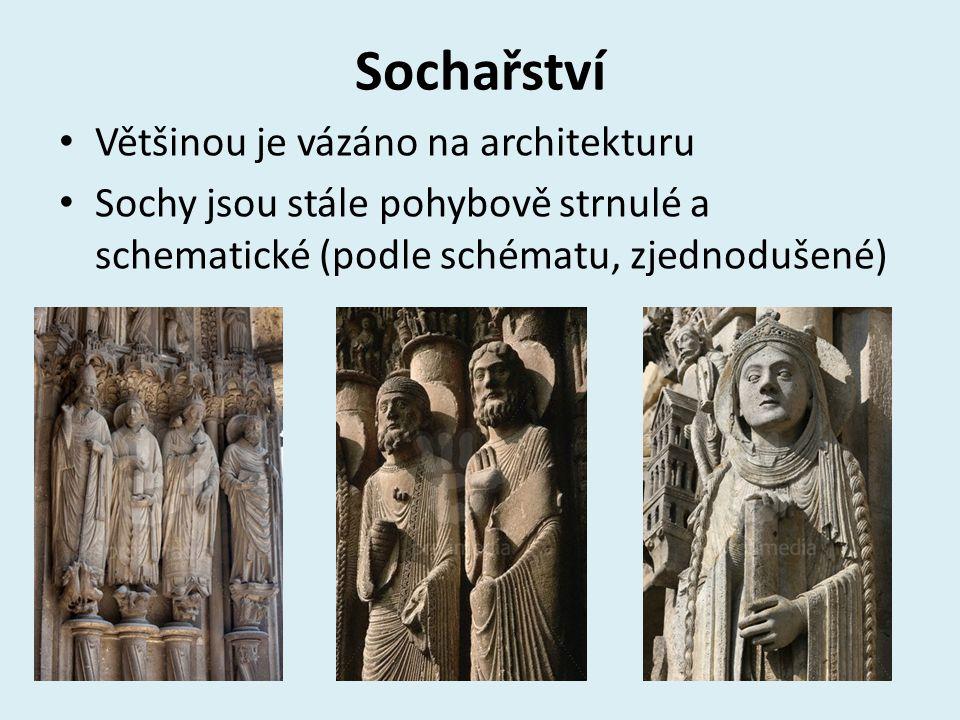 Sochařství Většinou je vázáno na architekturu