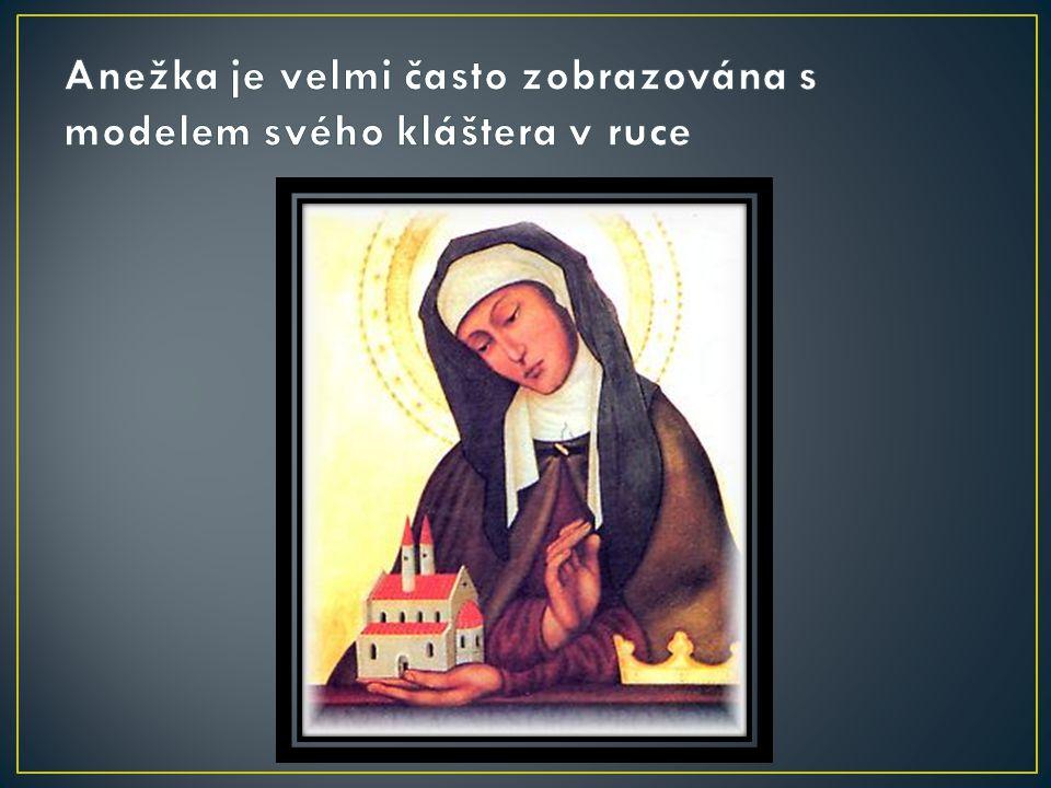 Anežka je velmi často zobrazována s modelem svého kláštera v ruce