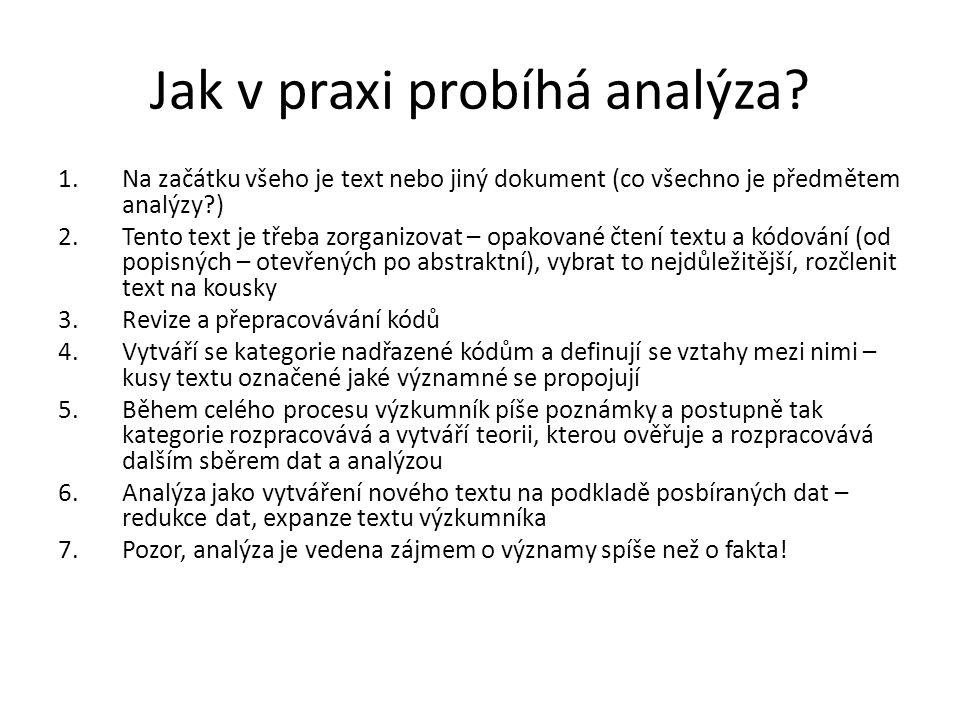 Jak v praxi probíhá analýza