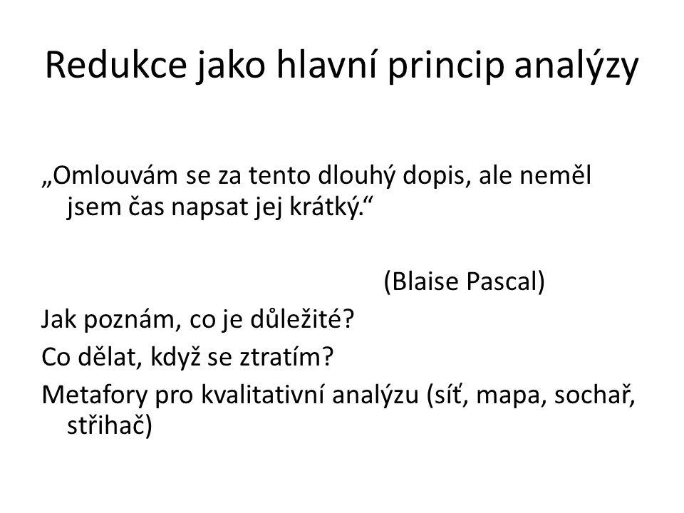 Redukce jako hlavní princip analýzy