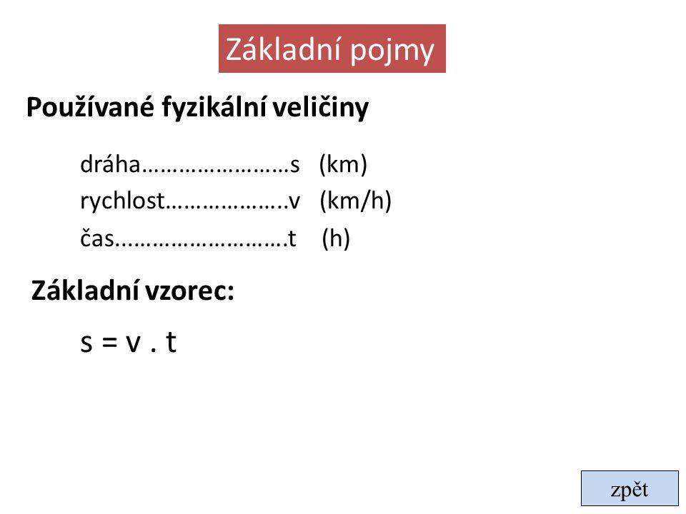 Základní pojmy s = v . t Používané fyzikální veličiny Základní vzorec: