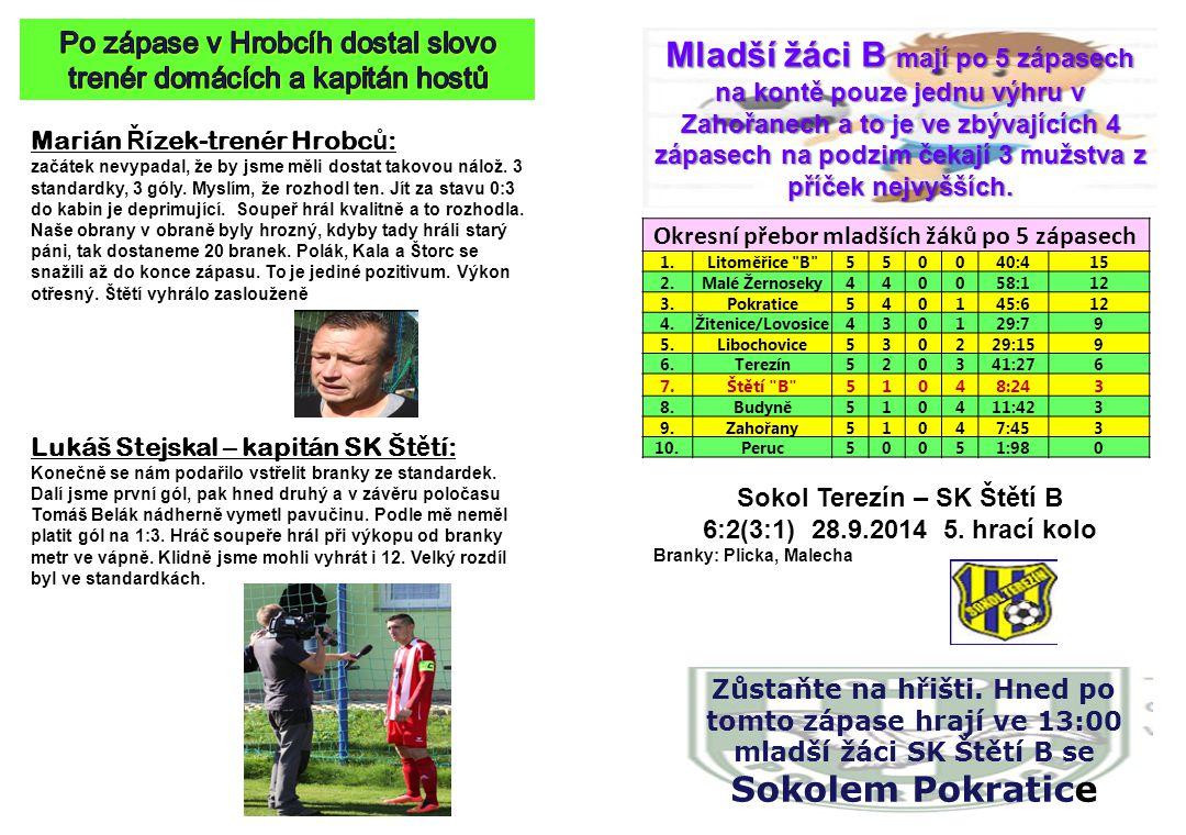 Po zápase v Hrobcíh dostal slovo trenér domácích a kapitán hostů