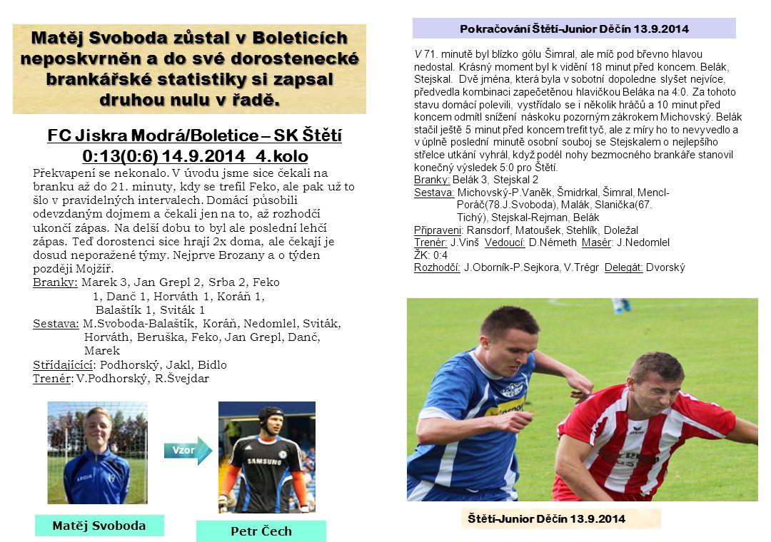 FC Jiskra Modrá/Boletice – SK Štětí 0:13(0:6) 14.9.2014 4.kolo