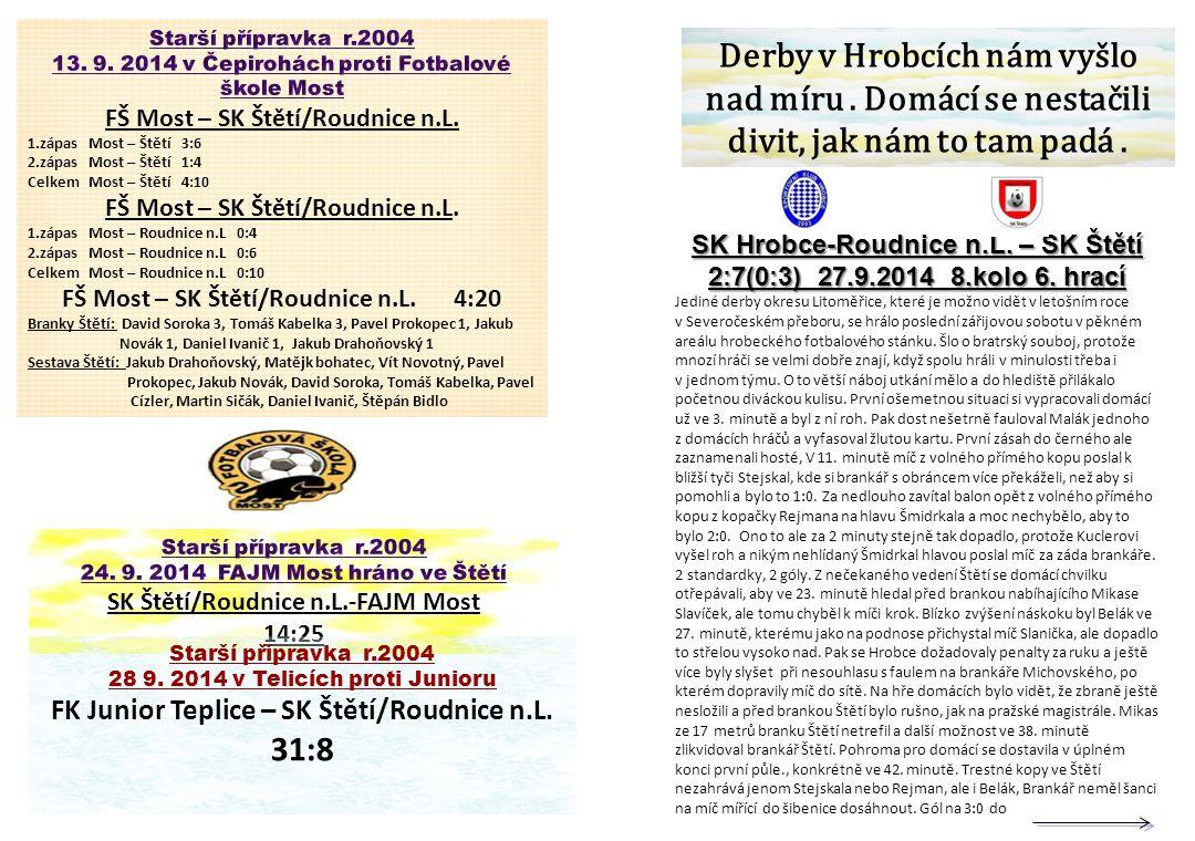 Starší přípravka r.2004 13. 9. 2014 v Čepirohách proti Fotbalové škole Most. FŠ Most – SK Štětí/Roudnice n.L.