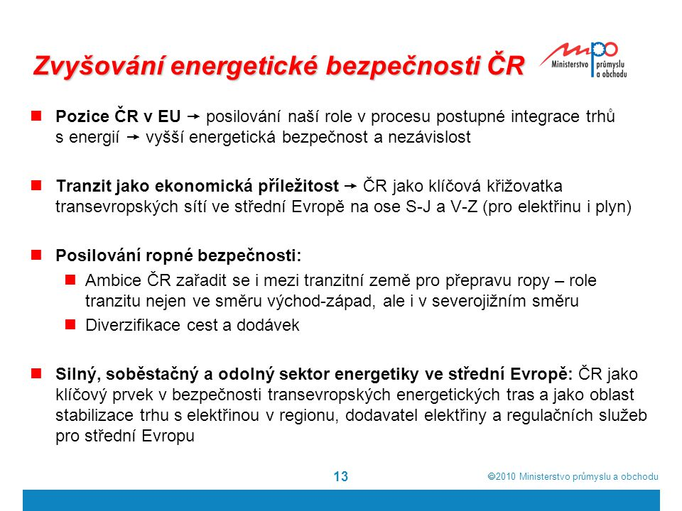 Zvyšování energetické bezpečnosti ČR