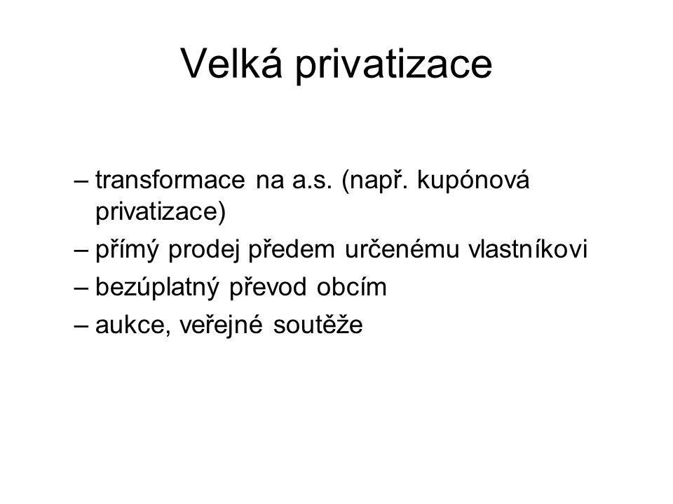 Velká privatizace transformace na a.s. (např. kupónová privatizace)