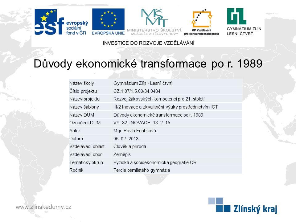 Důvody ekonomické transformace po r. 1989
