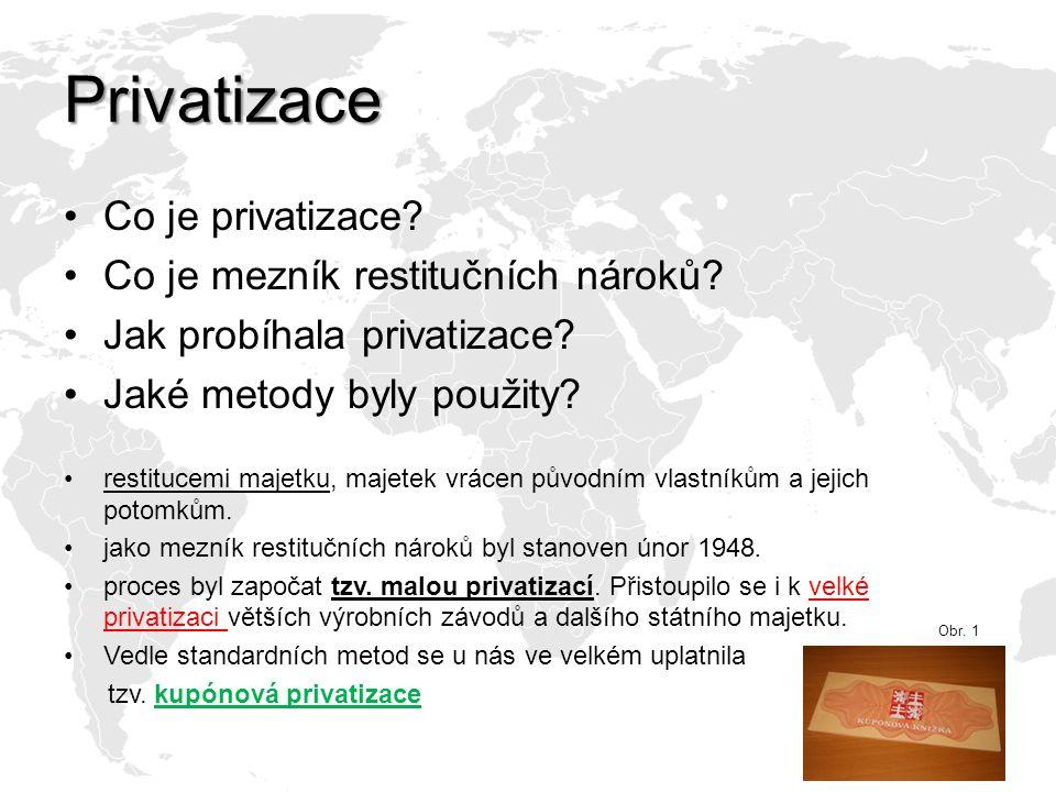 Privatizace Co je privatizace Co je mezník restitučních nároků
