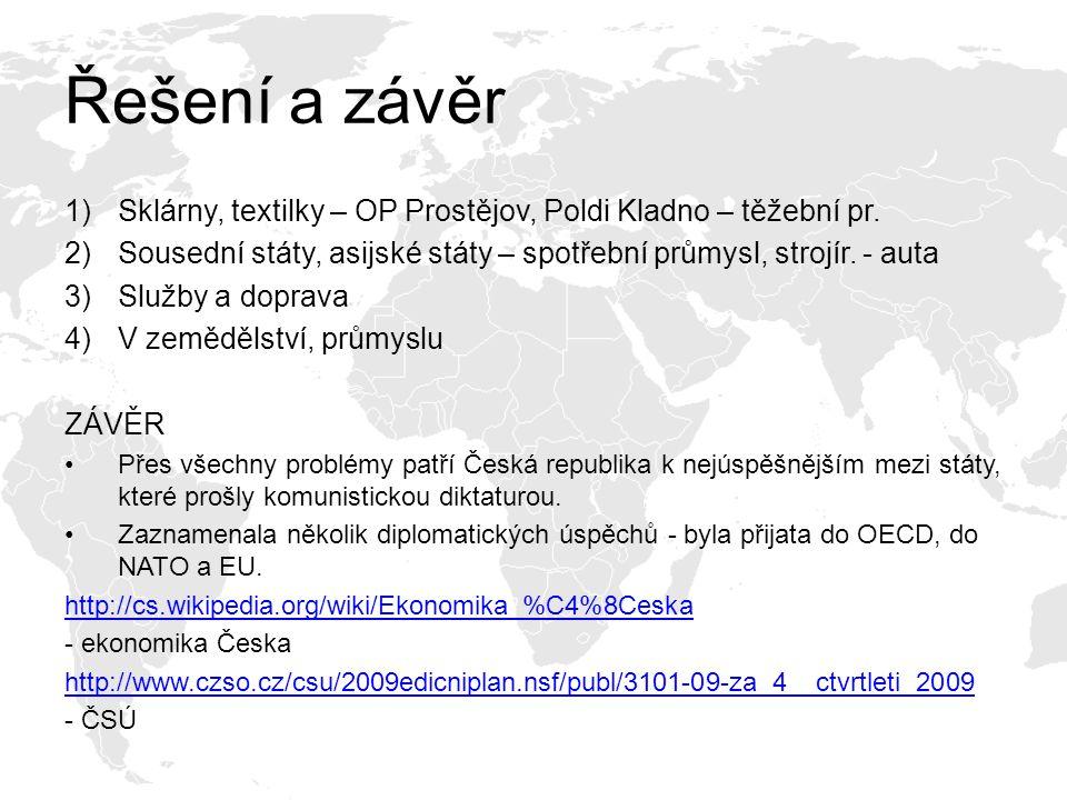 Řešení a závěr Sklárny, textilky – OP Prostějov, Poldi Kladno – těžební pr. Sousední státy, asijské státy – spotřební průmysl, strojír. - auta.