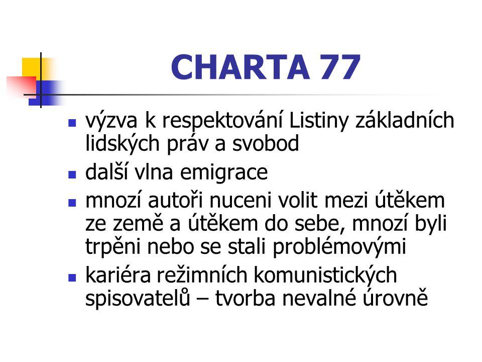 CHARTA 77 výzva k respektování Listiny základních lidských práv a svobod. další vlna emigrace.