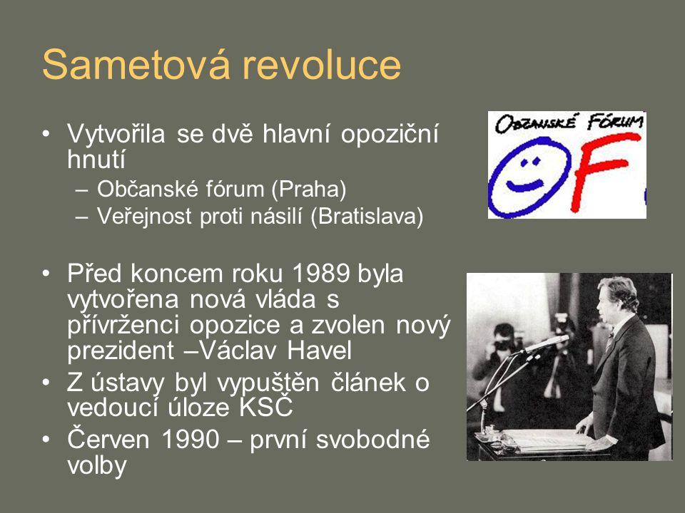 Sametová revoluce Vytvořila se dvě hlavní opoziční hnutí