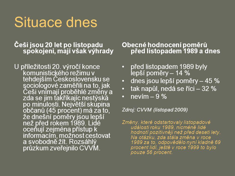 Situace dnes Češi jsou 20 let po listopadu spokojeni, mají však výhrady.