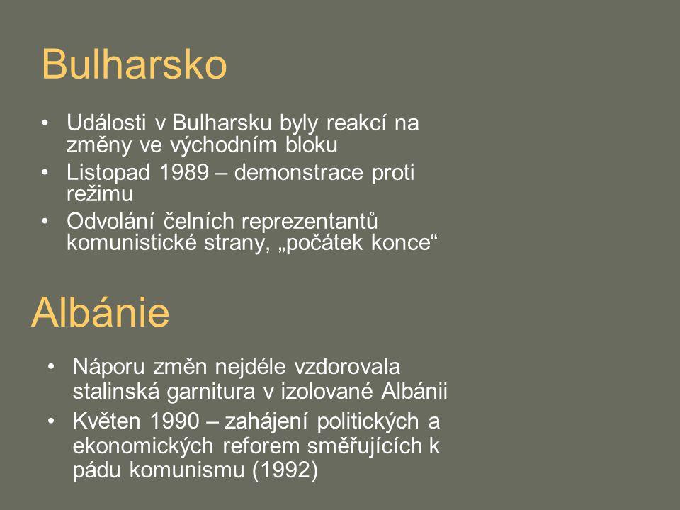 Bulharsko Události v Bulharsku byly reakcí na změny ve východním bloku. Listopad 1989 – demonstrace proti režimu.